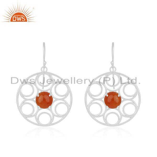 New arrival fine sterling silver red onyx gemstone designer earrings