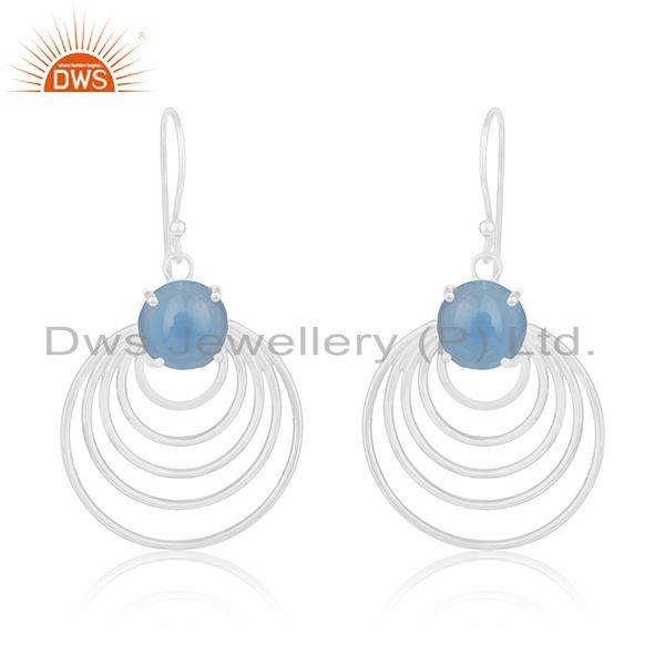 Designer 925 sterling fine silver blue chalcedony gemstone dangle earrings