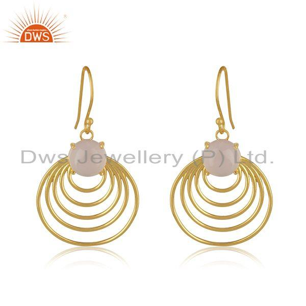 92.5 sterling silver yellow gold plated designer party wear earring manufacturer