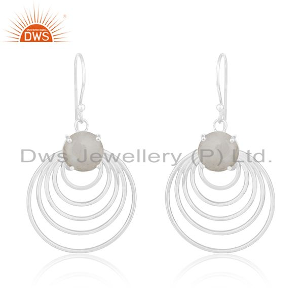 Natural rainbow moonstone 925 sterling silver earrings manufacturer