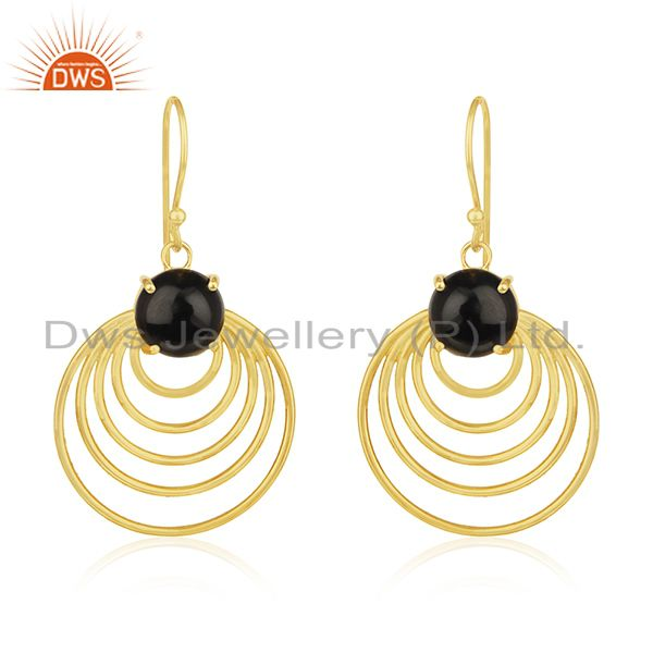 Gold plated 925 silver designer black onyx gemstone dangle earrings manufacturer