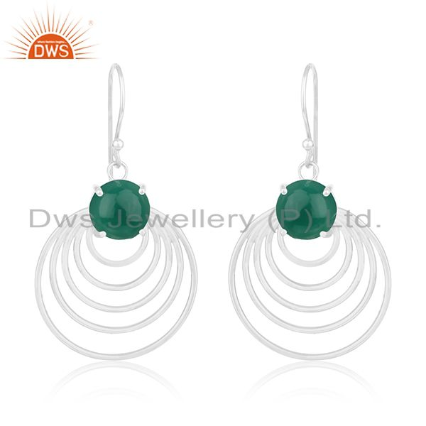 Green onyx gemstone sterling silver circle design earrings manufacturer india