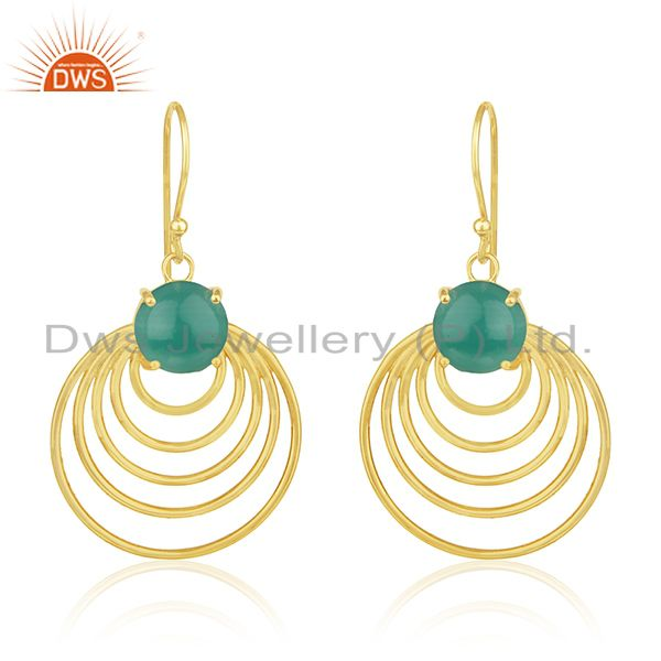 92.5 silver 14k gold plated green onyx gemstone designer earrings manufacturer