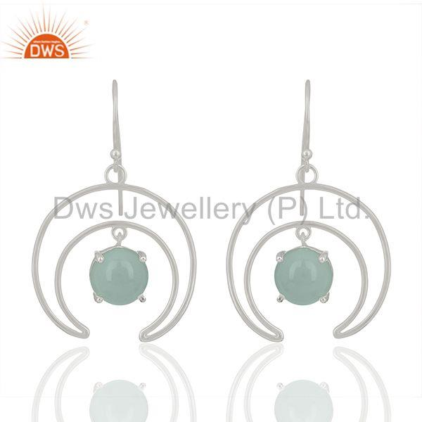 Solid 925 silver gemstone half moon design earrings jewelry wholesale
