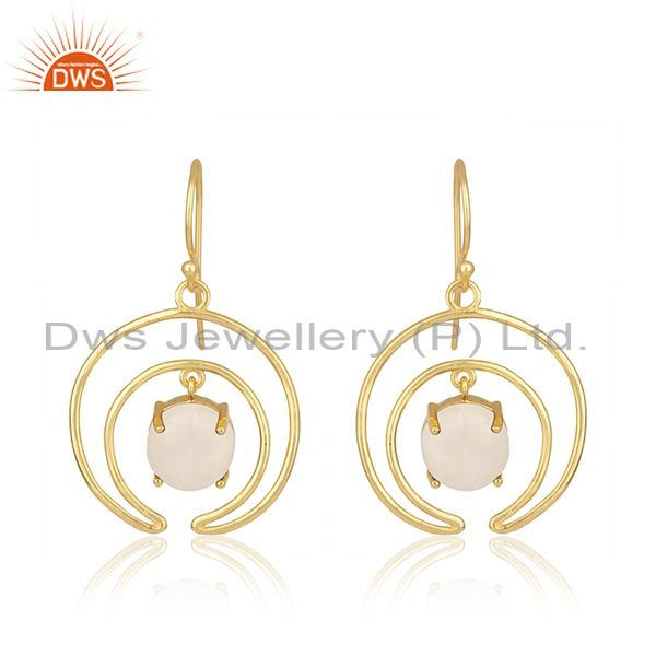 Natural rainbow moonstone gold plated 925 silver earrings wholesale