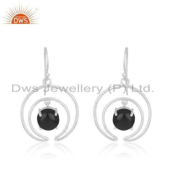 925 sterling fine silver crescent moon design onyx gemstone earrings