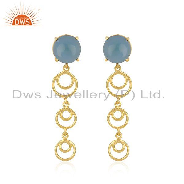 Designer sterling silver gold plated blue chalcedony gemstone earrings