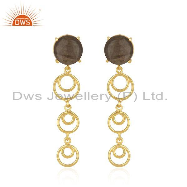 Natural labradorite gemstone gold plated 925 silver designer earrings
