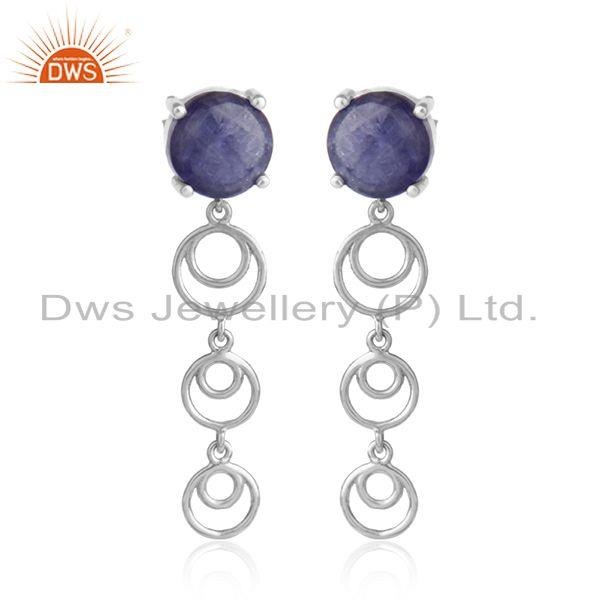 Dangle design white rhodium plated silver tanzanite earrings