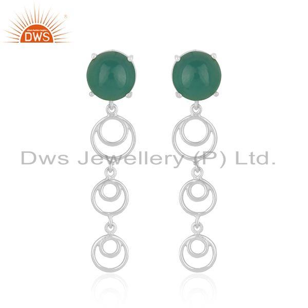 Best selling fine sterling silver green onyx gemstone designer earring