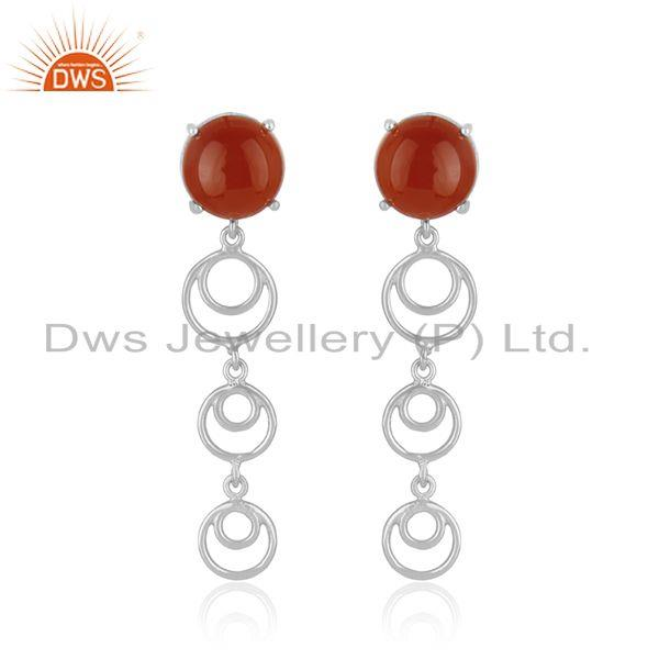 Trendy red onyx gemstone fine sterling silver designer girls earrings