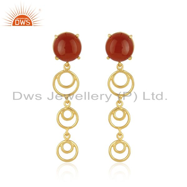 Trendy red onyx gemstone gold plated 925 silver designer earrings