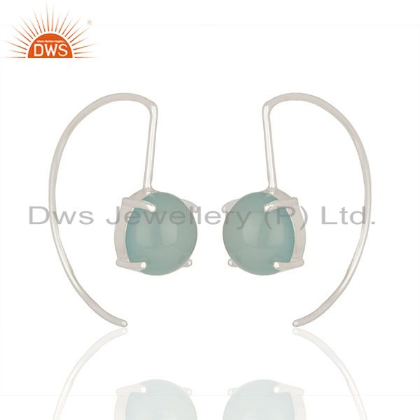 Aqua chalcedony gemstone new designer white sterling silver drop earring jewelry