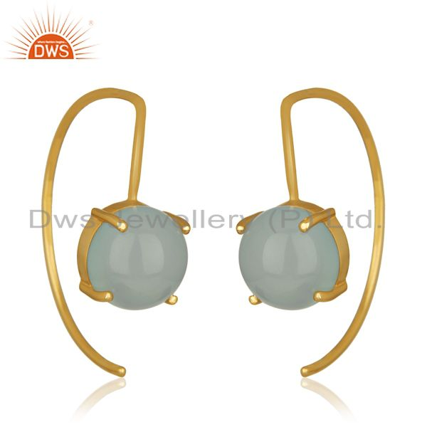 Aqua chalcedony gemstone simple 925 silver earrings manufacturers