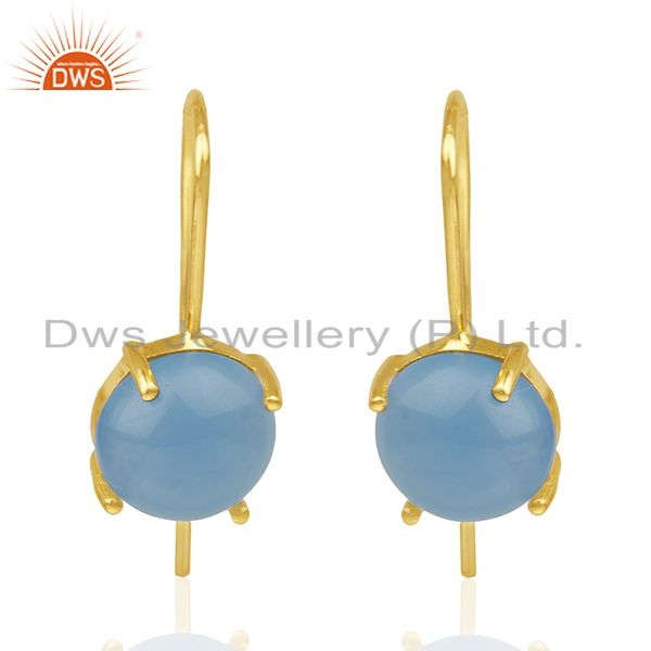 Blue Chalcedony Gemstone 925 Silver Gold Plated Drop Earrings Wholesale