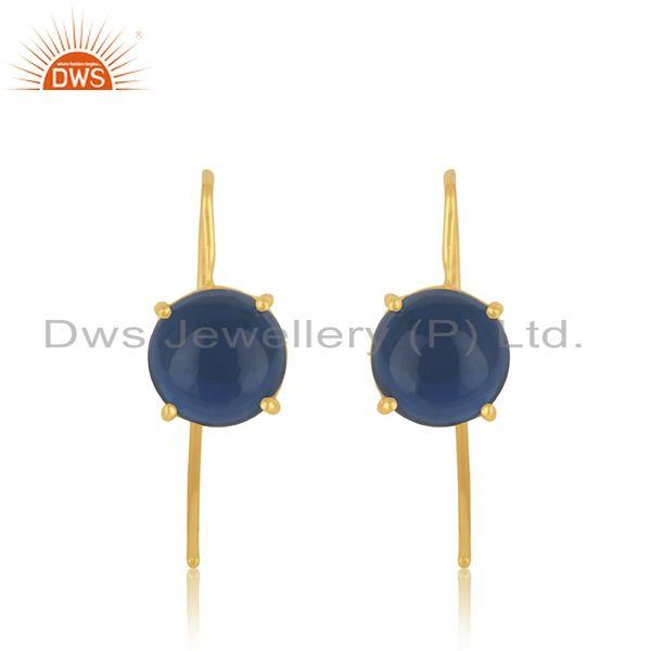Blue corundum gemstone gold plated 925 silver earring jewelry supplier