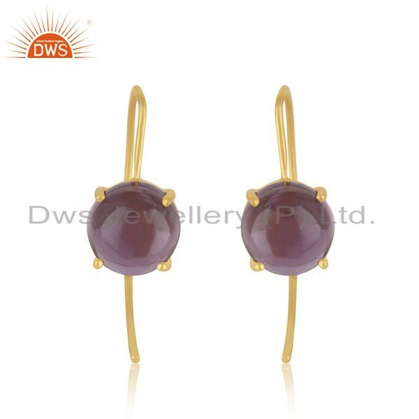 925 silver gold plated hydro amethyst gemstone earrings for womens