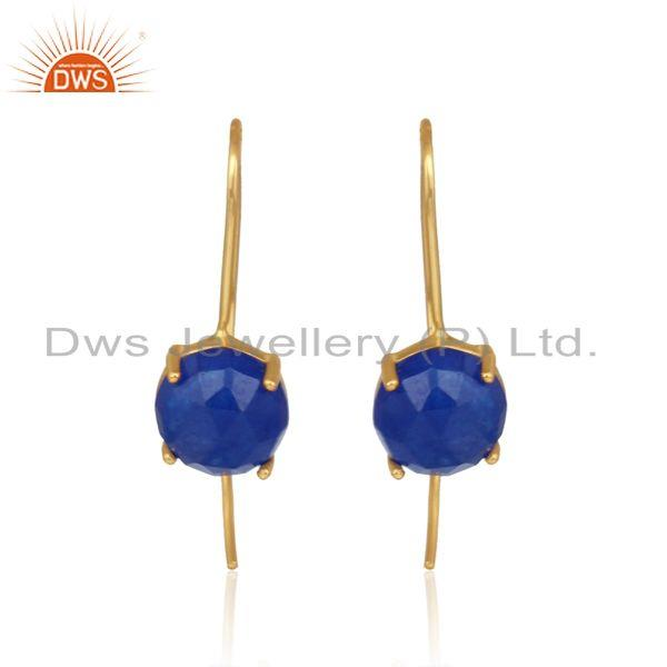 Designer handmade blue avanturine gold on silver 925 earrings