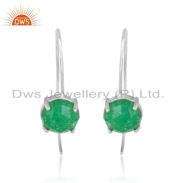 Designer handmade green avanturine solid silver 925 earrings