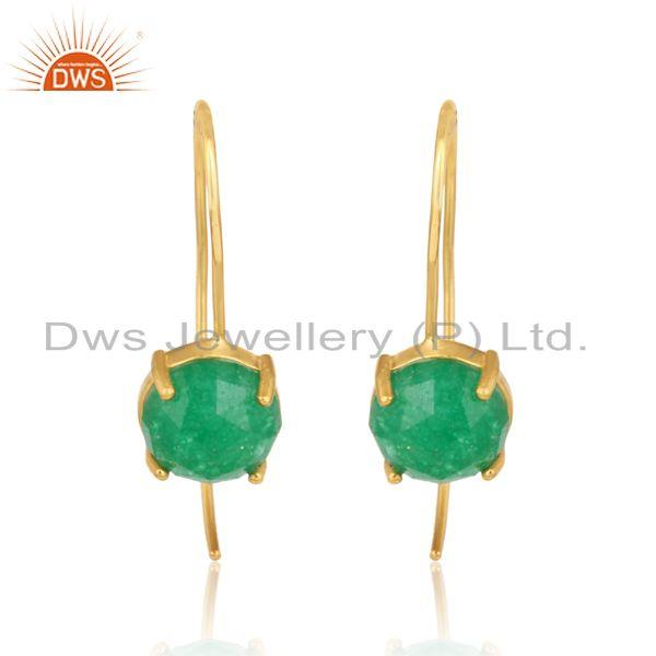 Designer handmade green avanturine gold on silver 925 earrings