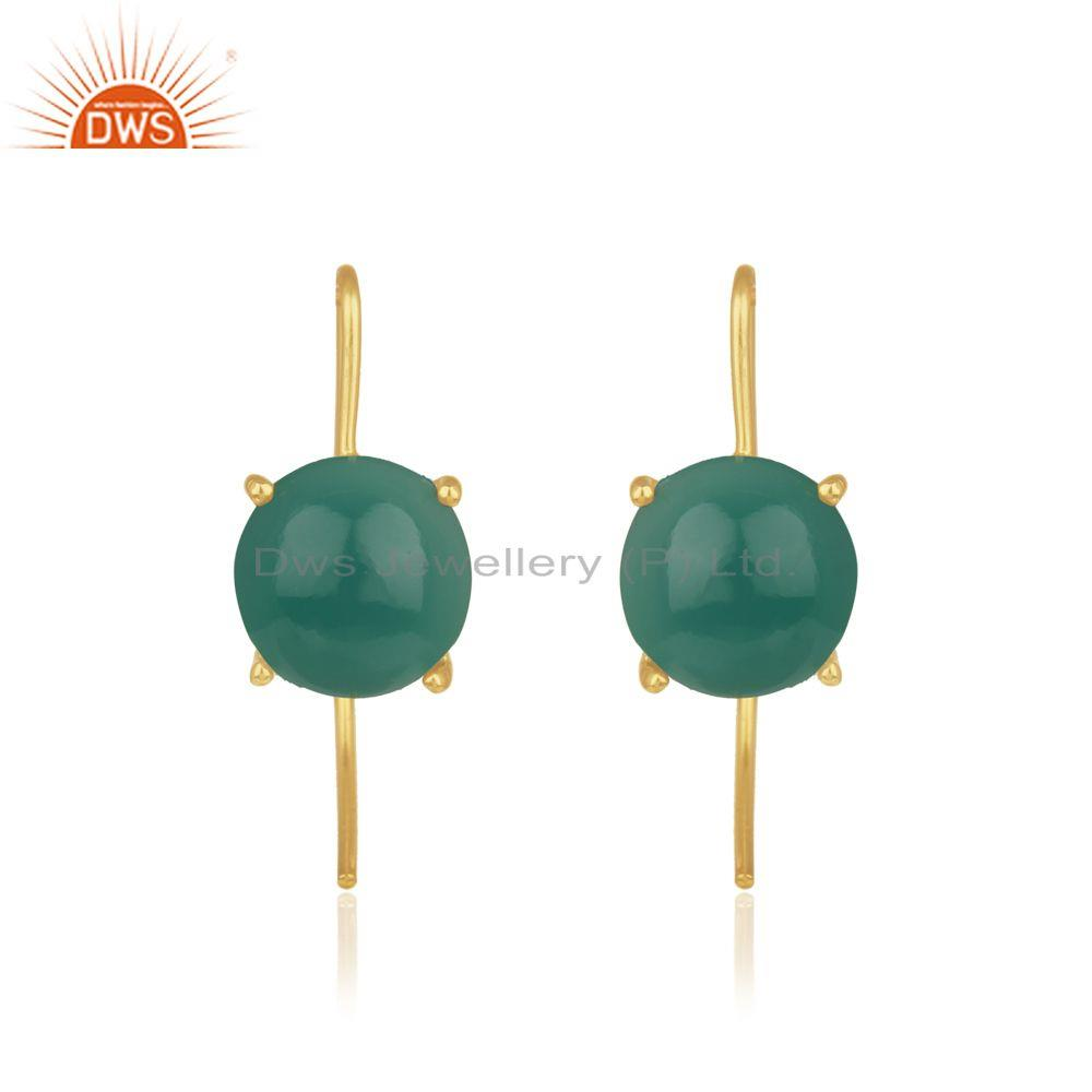 Green onyx gemstone gold plated sterling silver earrings wholesale