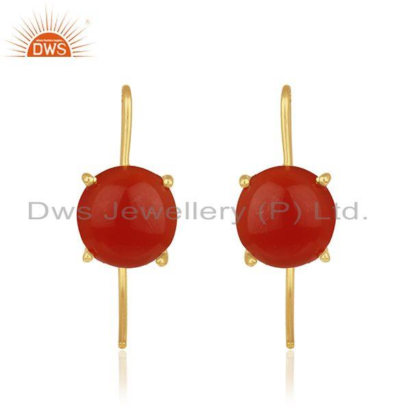 Red onyx gemstone gold plated 925 silver handmade earrings wholesale