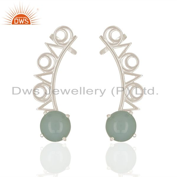 Aqua chalcedony gemstone 92.5 sterling silver ear cuff earrings