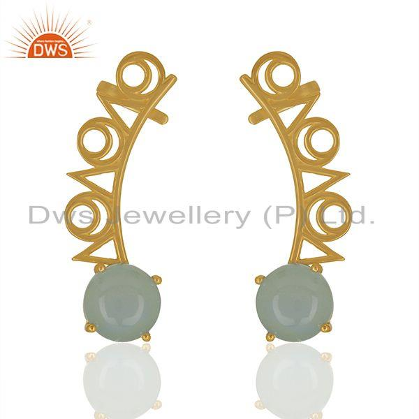Trendy gold plated 925 silver chalcedony gemstone ear cuff earrings