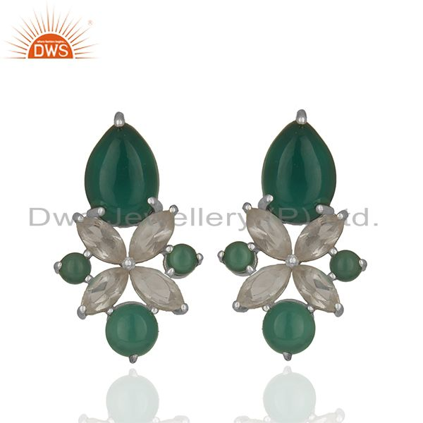 Crystal and Onyx Gemstone 925 Silver Stud Earring Jewelry Manufacturer