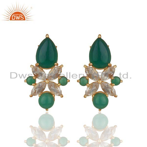 Green Onyx Gemstone 925 Silver Gold Plated Stud Earrings Jewelry
