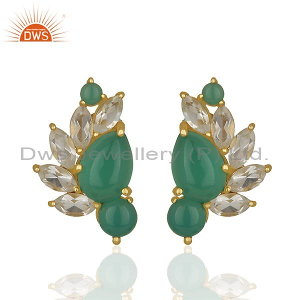 Crystal Quartz and Green Onyx Gemstone Silver Earrings Wholesale