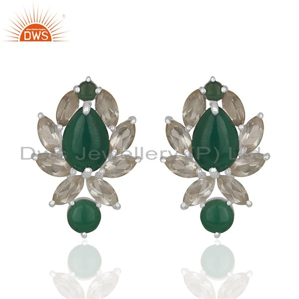 Designer Multi Gemstone 925 Silver Stud Custom Earrings Manufacturers