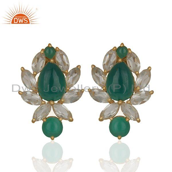 Prong Set Gemstone Sterling Silver Gold Plated Earring Manufacturer
