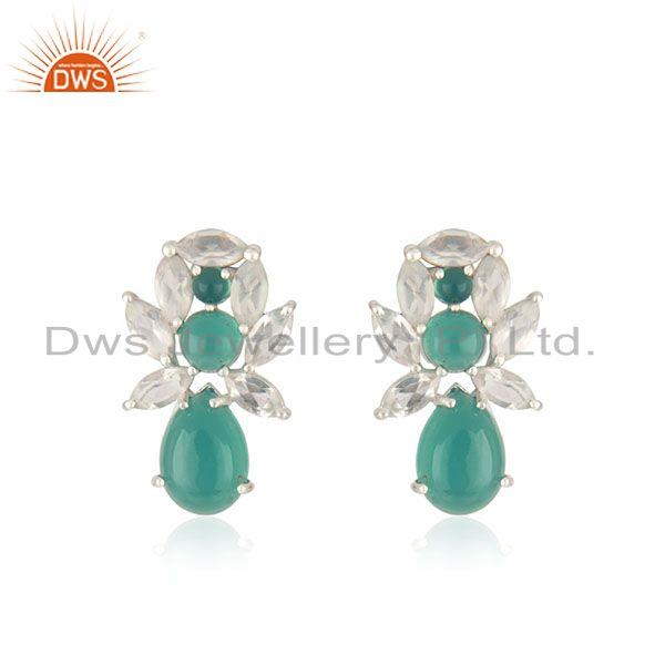 Crystal Quartz and Green Onyx Gemstone 925 Fine Silver Stud Earrings Manufacture