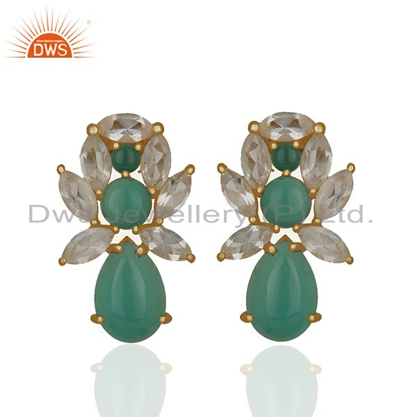 Prong Setting Natural Gemstone Solid 925 Silver Stud Earrings Jewelry