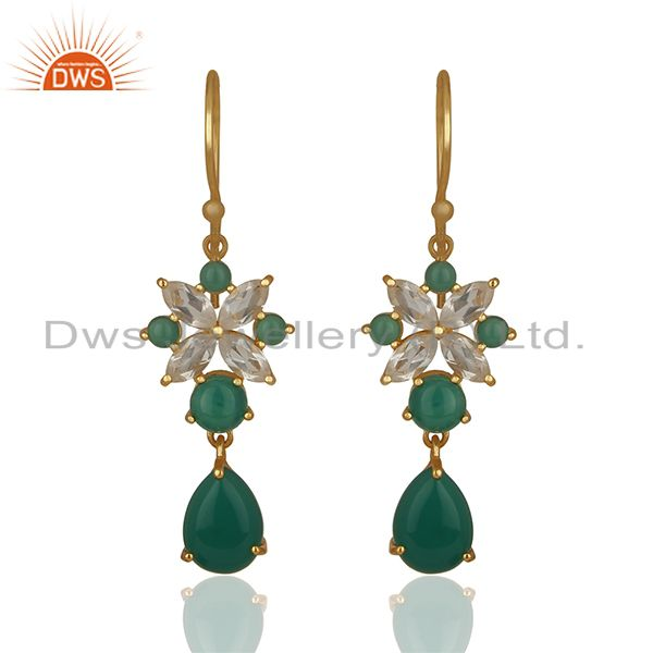 Handmade Gemstone 925 Silver Gold Plated Earrings Jewelry Wholesale