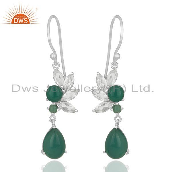 Multi Gemstone 925 Silver Designer Earrings Jewelry Manufacturer