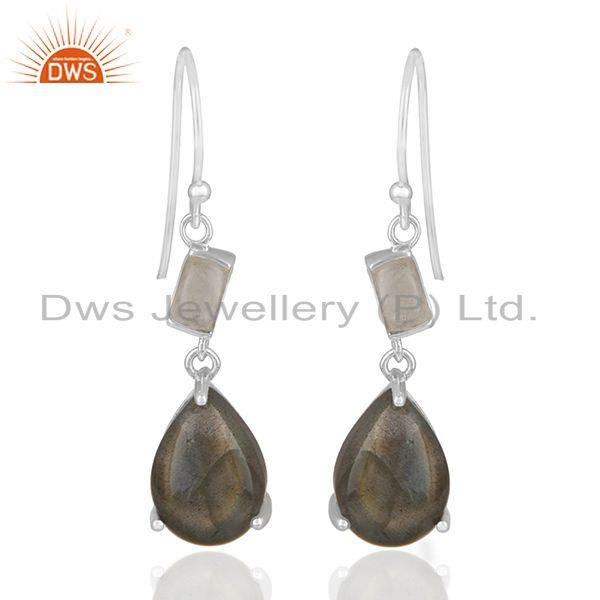 Labradorite and Moonstone Rainbow 925 Silver Earrings Manufacturers