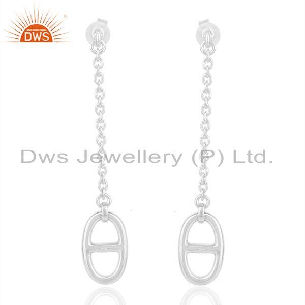 Solid 925 Sterling Silver Chain Earrings Custom Jewelry Manufacturers
