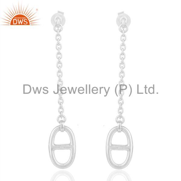 Genuine Sterling Silver Chain Link Design Girls Earrings Manufacturer