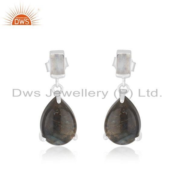 Labradorite and Moonstone 925 Sterling Silver Drop Earrings Jewelry Wholesaler