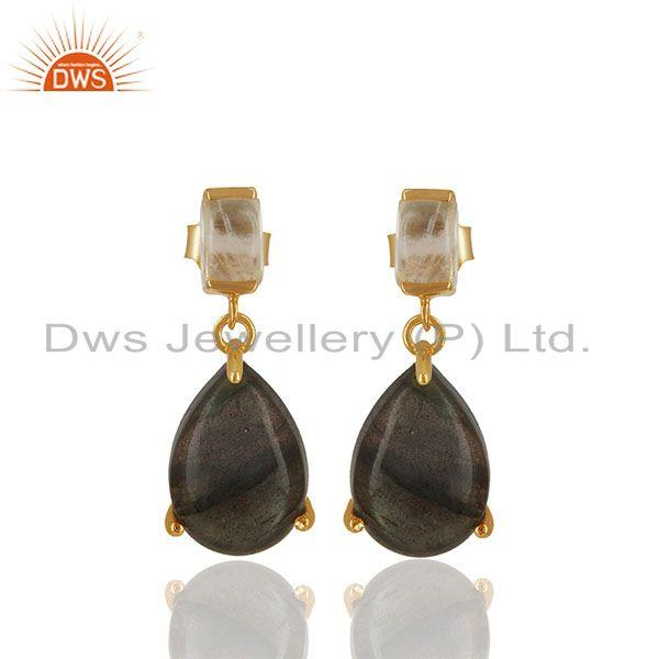 Handmade Prong Set Multi Gemstone 925 Silver Earrings Wholesale