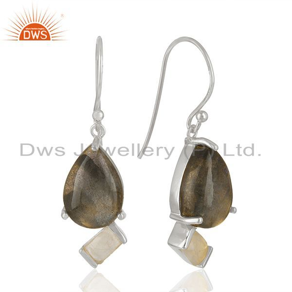 Designer 925 Sterling Silver Multi Gemstone Drop Earrings Wholesale
