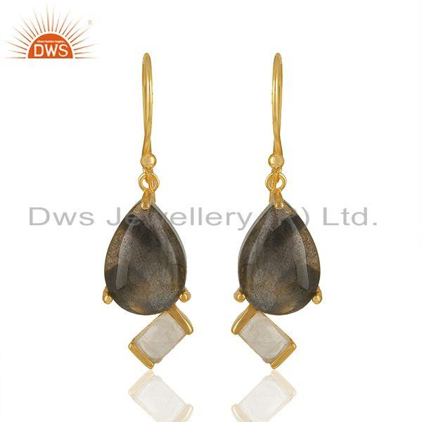 Natural Multi Gemstone 925 Silver Gold Plated Earrings Jewelry