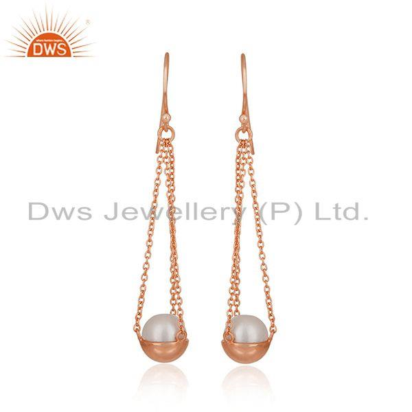 Natural Pearl Rose Gold Plated 925 Silver Chain Earring Jewelry