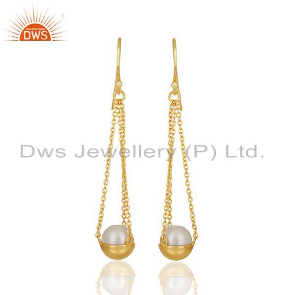 Natural Pearl Gold Plated Solid 925 Silver Chain Earrings Manufacturer