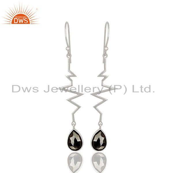 Hematite Heartbeat Collection Designer Sterling Silver Earring