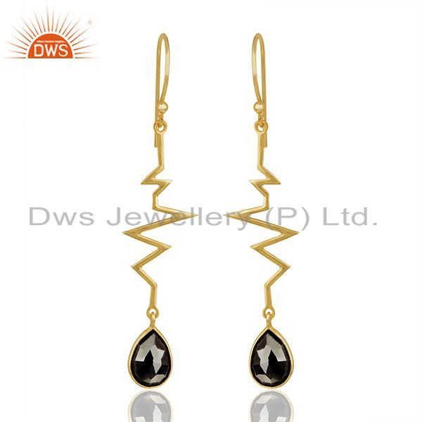 Hematite Heartbeat Collection Gold Plated Designer Sterling Silver Earring