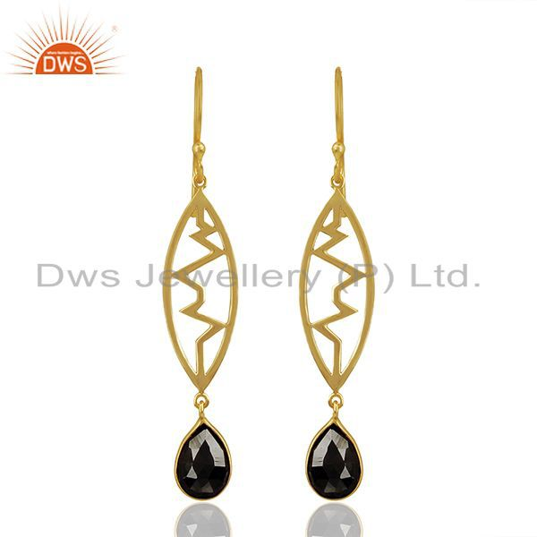 Hematite Heartbeat Collection Gold Plated Sterling Silver Earring
