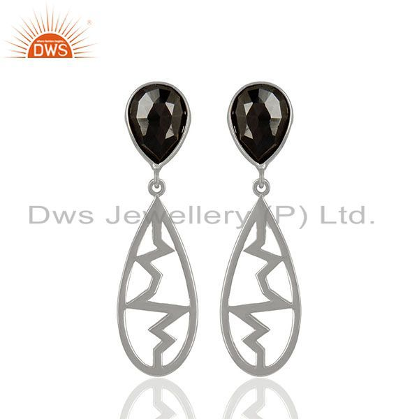 Hematite Pear Studded Heartbeat Collection Designer Silver Earring